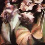 """""""Hortensias et potirons"""", 46 cm x 42 cm - pastel sec sur papier - 1988"""