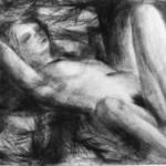 """""""Endormie sous les pins"""", 65 cm x 50 cm - craie sur papier - 1989"""