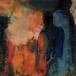 """""""Dos à dos"""", 21 x 15.5 cm - pastel gras et gouache sur papier - 1990"""