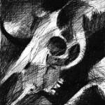 """""""Crâne"""", dessin au feutre sur papier - 1989"""