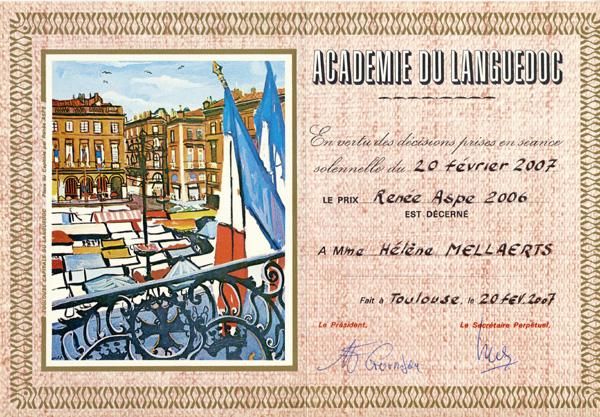 Diplôme Renée Aspe décernée par l'académie du Languedoc