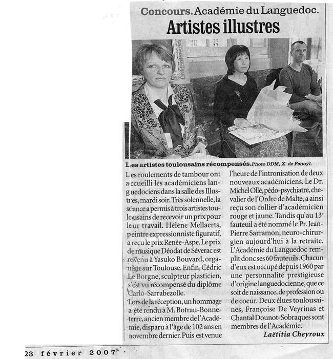 Presse- Article- La Dépêche du Midi - 27 février 2007